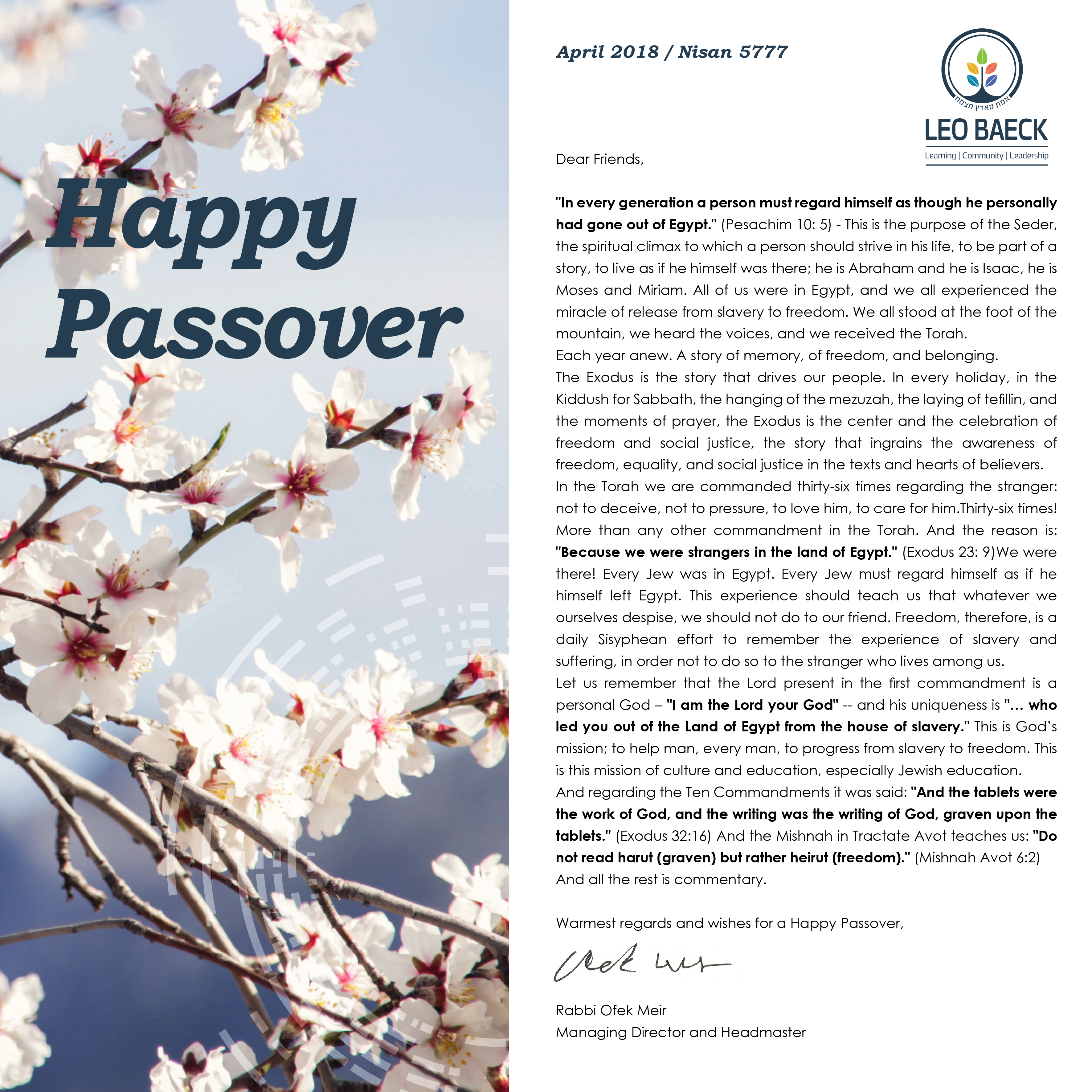 If You Cant See This Newsletter Properly Click Here Passover Greetings